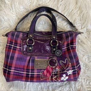 Coach purple poppy tartan purse